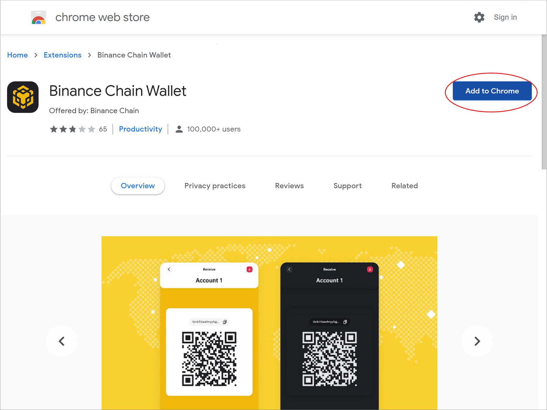 Binance chain wallet vtičnik