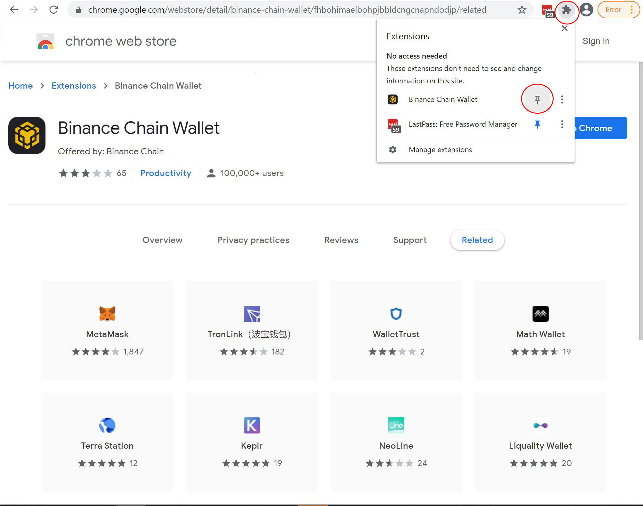 pripni Binance chain wallet vtičnik