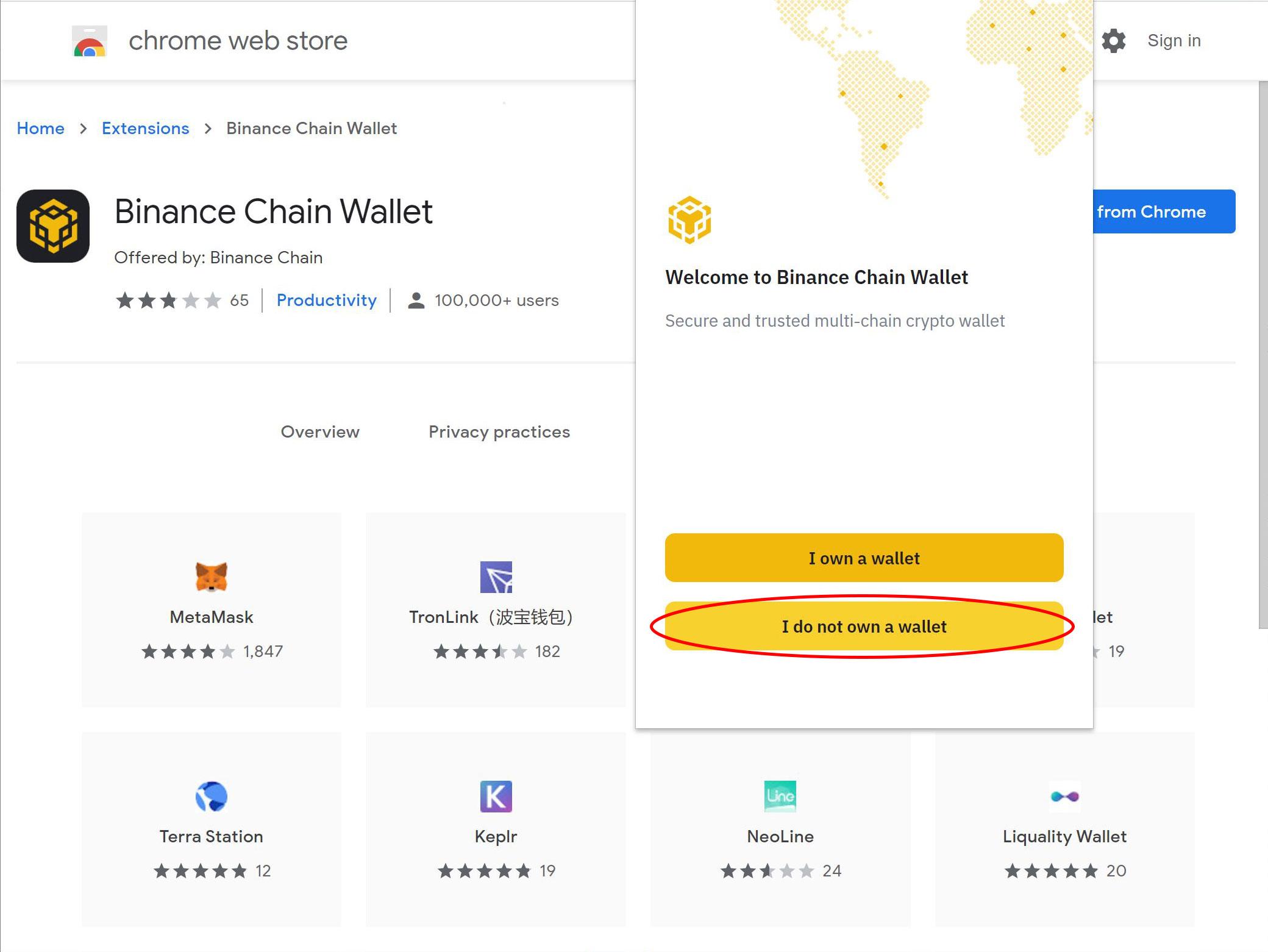Binance chain wallet I do not own a wallet
