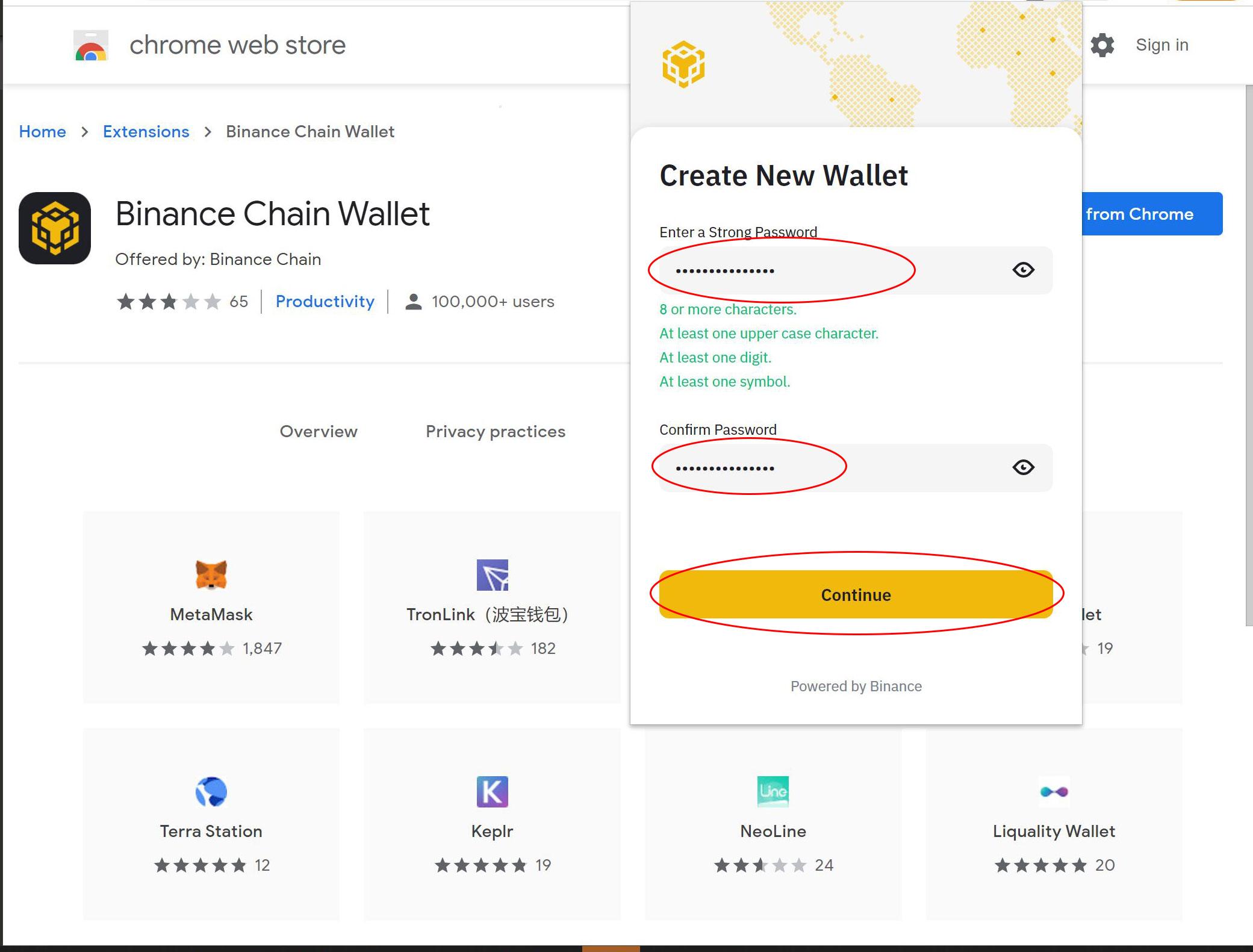 Binance chain wallet password