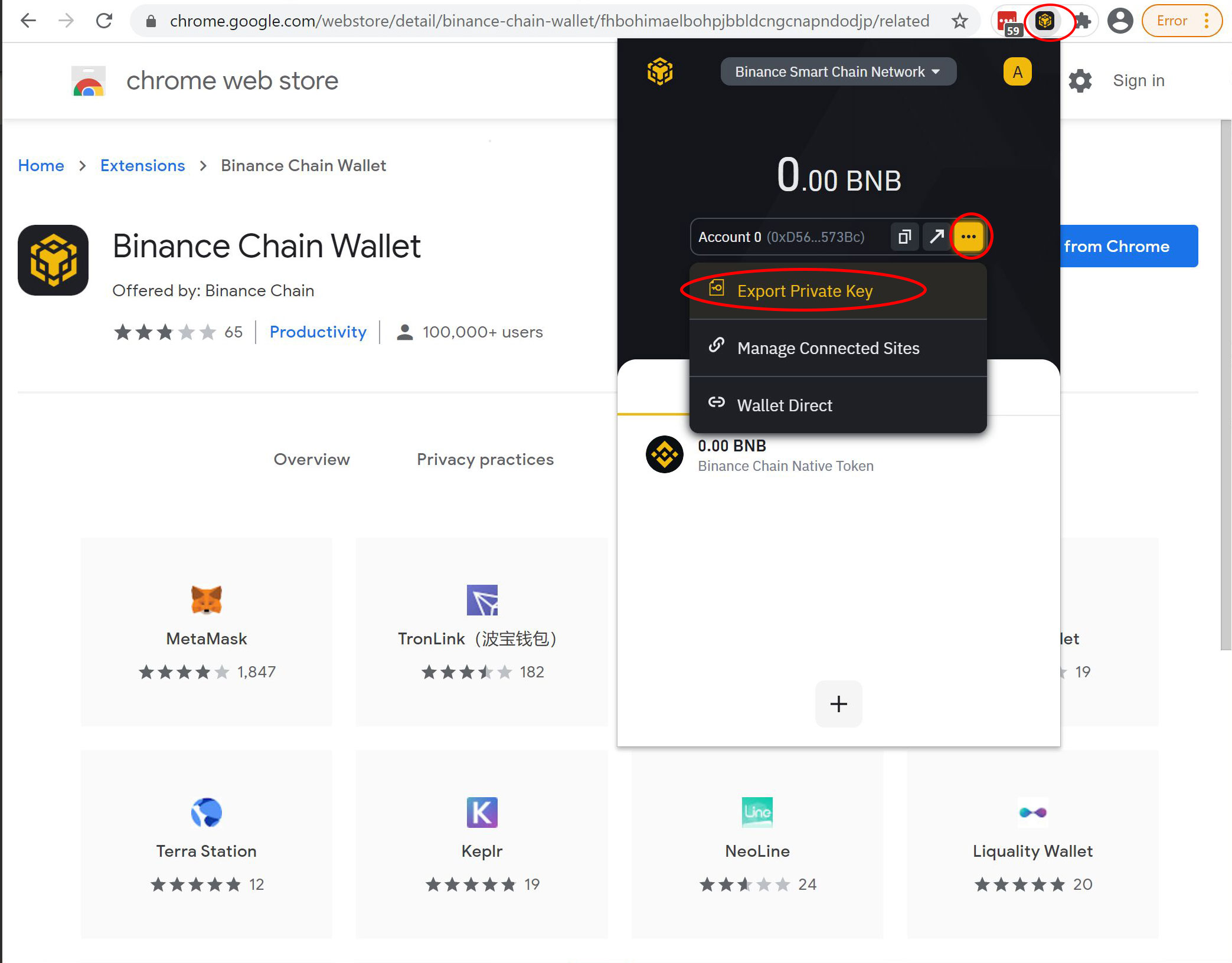 Binance chain wallet export private key