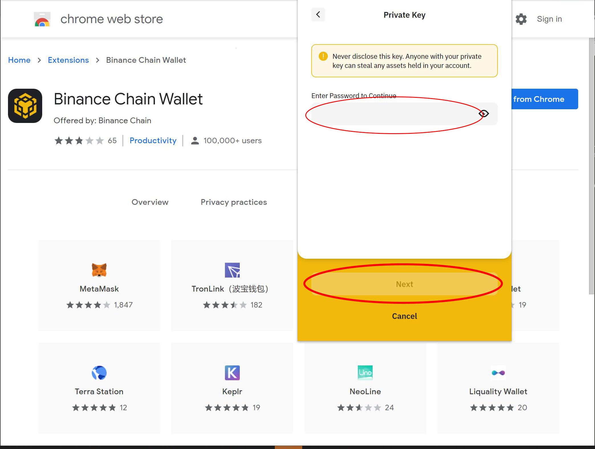 Binance chain wallet export private key password