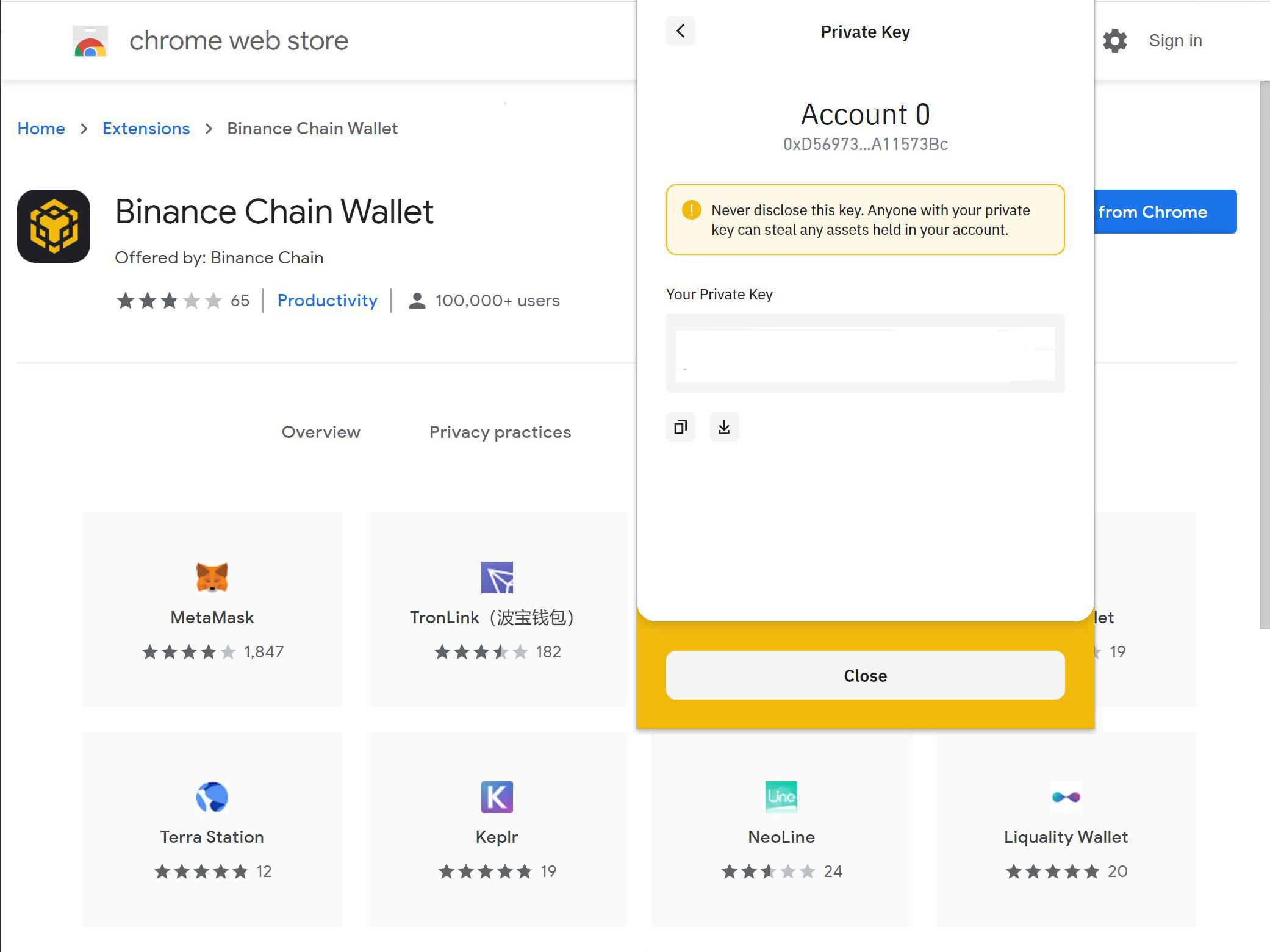 Binance chain wallet private key