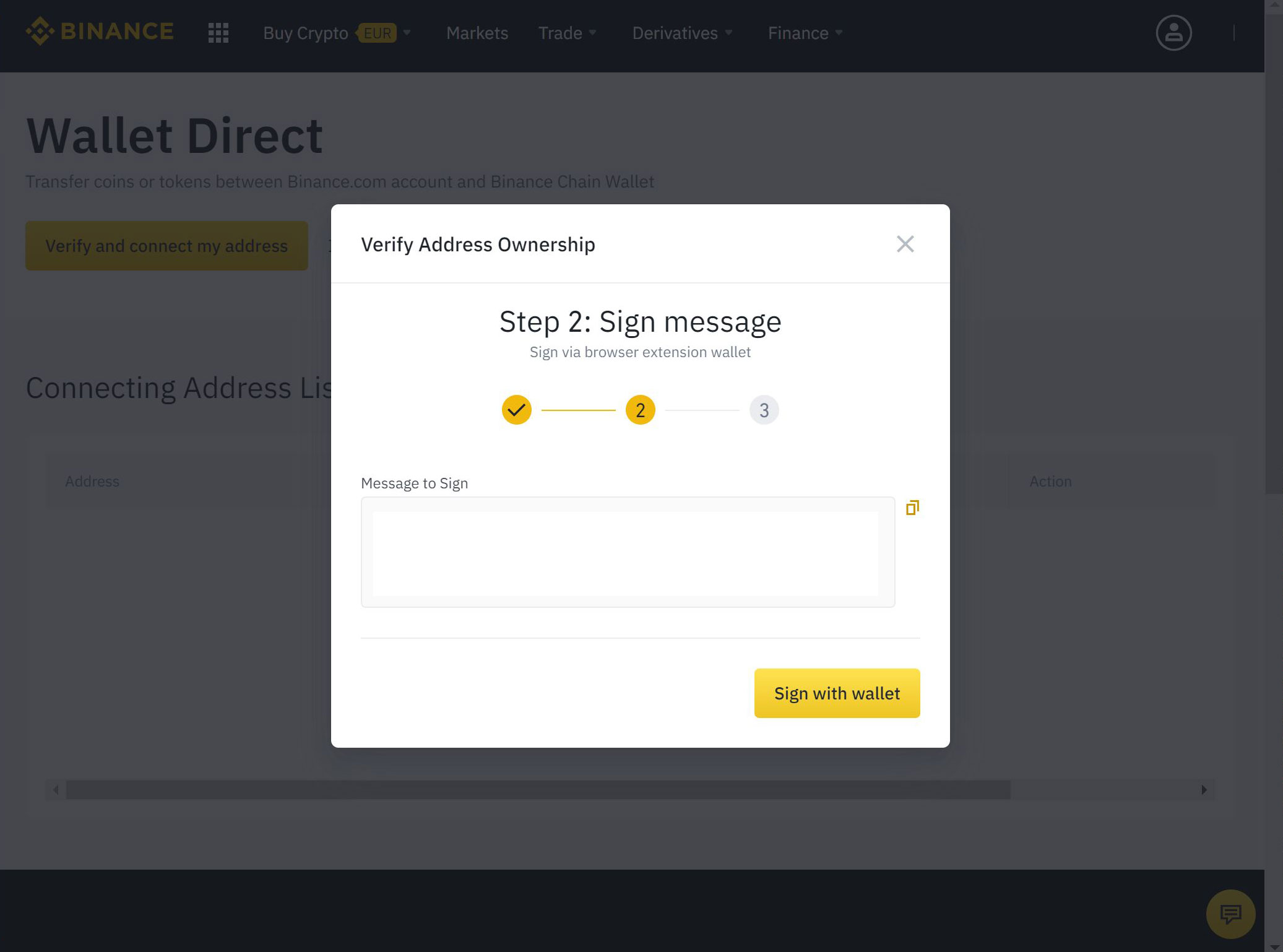 Binance chain wallet sign with wallet