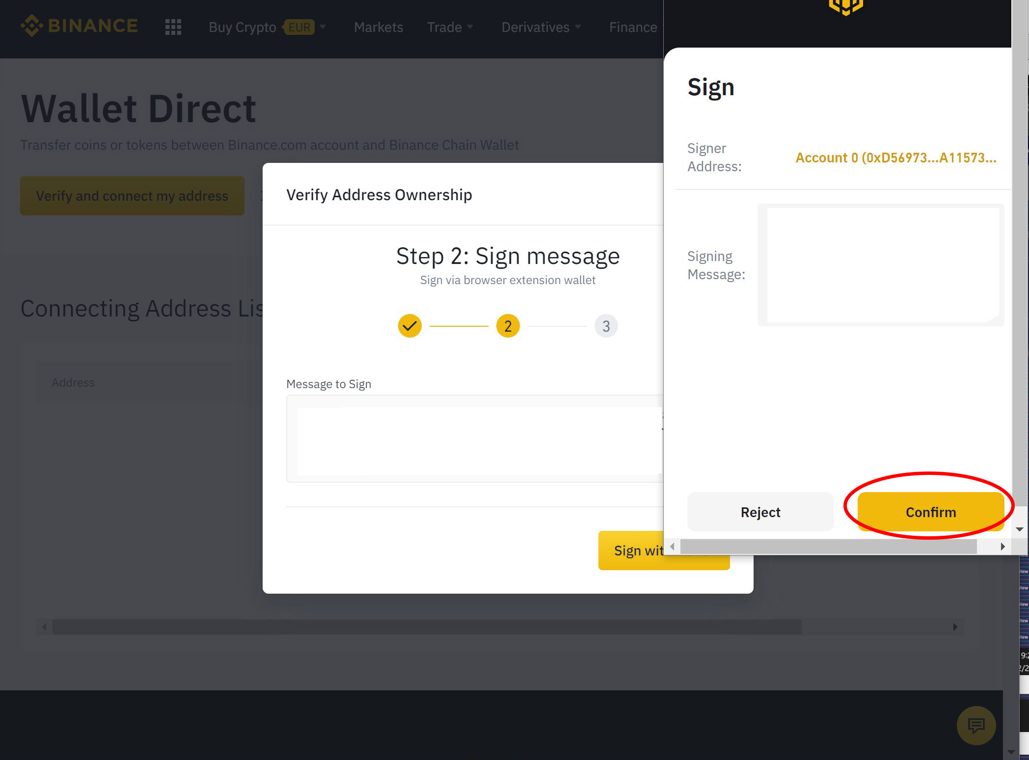 Binance chain wallet sign confirm