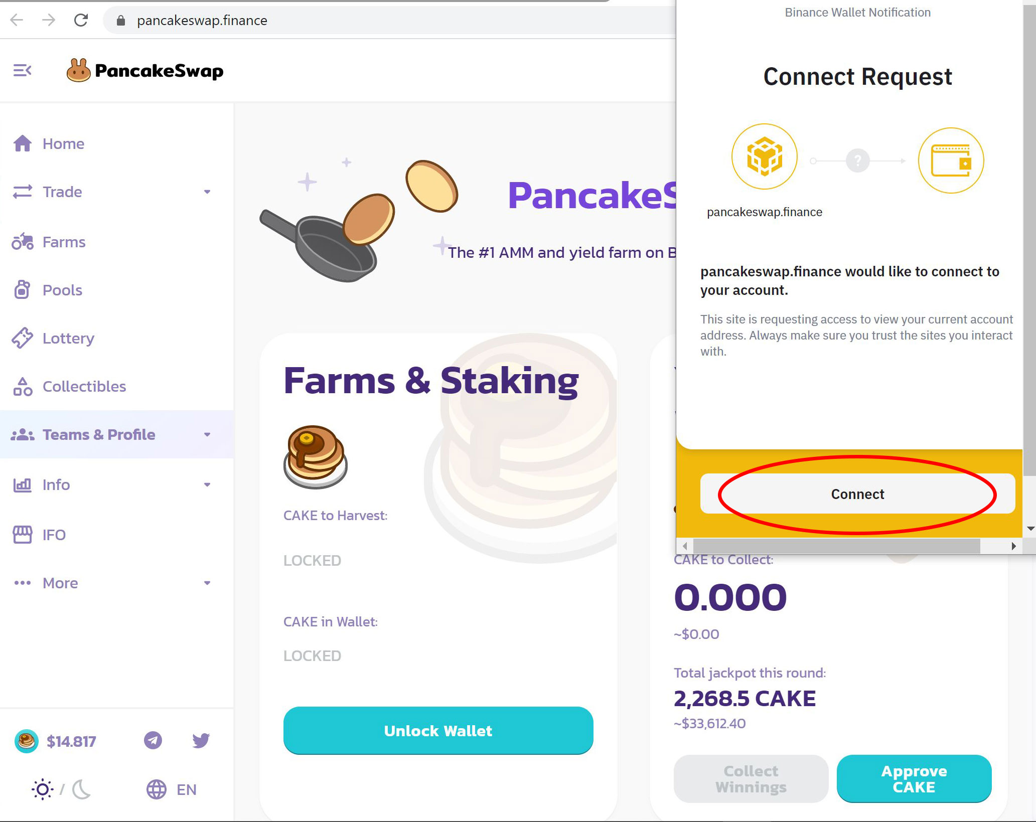 Pancakeswap connect request