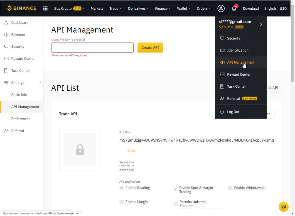 Binance API Management