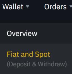 Binance menu Wallet Fiat and spot