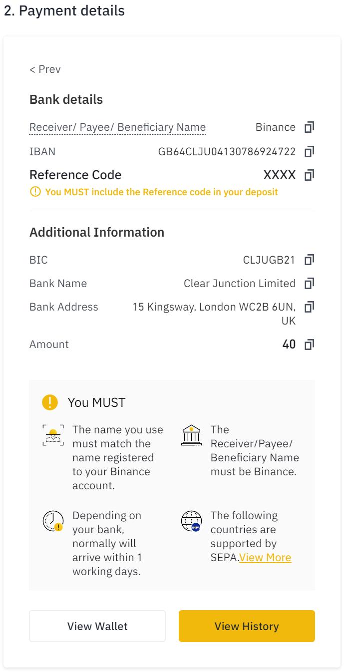 Binance Payment details