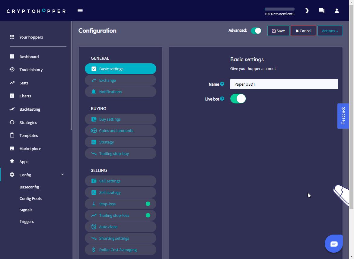 Cryptohopper config Basic settings